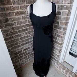 Betsey Johnson Black Silk Velvet Fitted Slip Dress